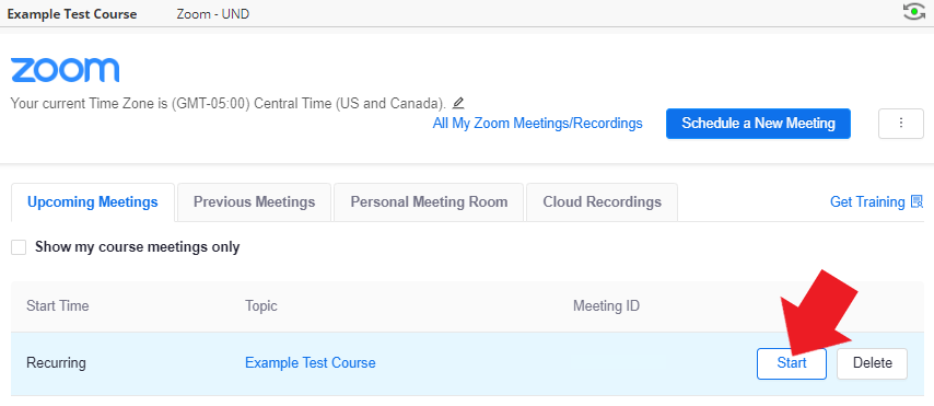 in the Zoom Dashboard, locate your meeting, and click 'Start' to begin the session