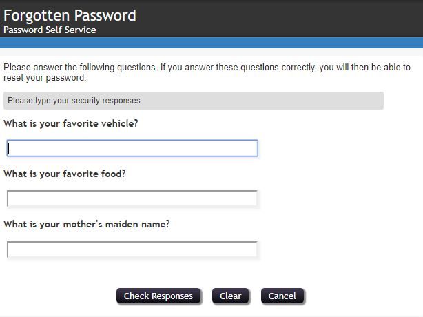 You will be prompted to answer a series of security questions. After completion, clickCheck Responses.