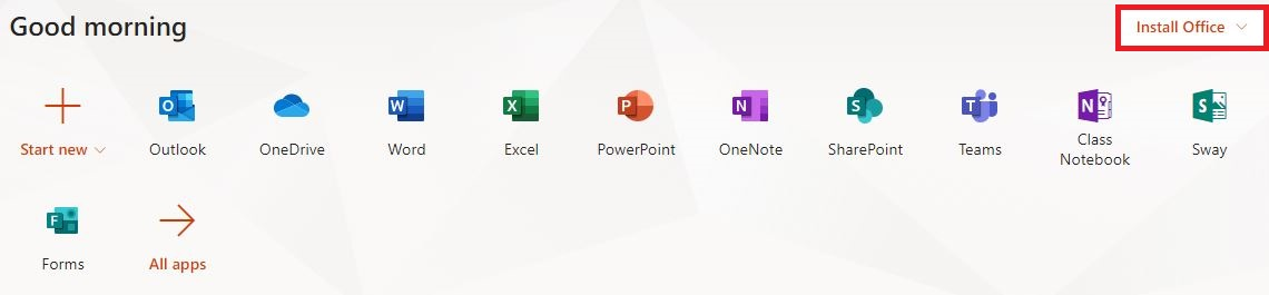 Find the Install Office app in the top-right of the apps menu.