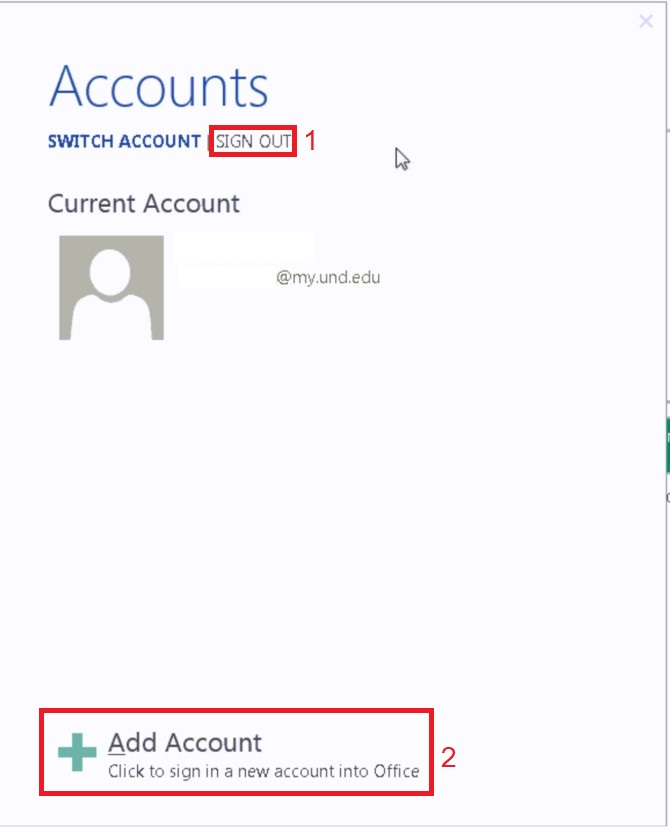 Click Sign Out and then Add Account.