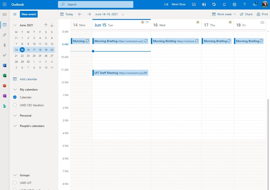 One of the Office 365 products available fromthe app menu is Calendar.Your calendar is synced with your other Office365 apps.So if you accept a meeting appointment fromyour advisor, it will show in your calendar.