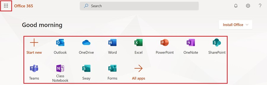 Once you are signed in, you can navigate between Office 365 apps from the default page or app menu in the top right of the window