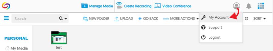 Screenshot: YuJa > select My Account from dropdown menu